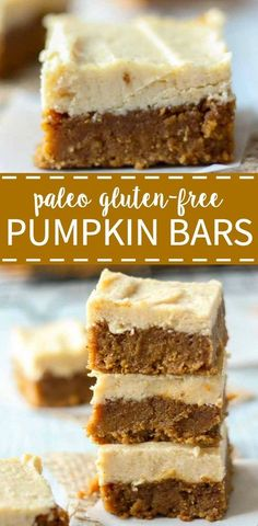 Paleo pumpkin bars with maple frosting. These bars are healthy, gluten-free, refined sugar free and paleo! They're perfect for a special diet but taste delicious. They're the best pumpkin spice recipe this fall! paleo dessert for thanksgiving Dessert Sans Gluten, Fall Dessert Recipes, Fall Desserts, Thanksgiving Recipes, Gluten Free Thanksgiving Dessert, Dinner Recipes, Dessert Paleo, Dinner Ideas, Blueberry Desserts