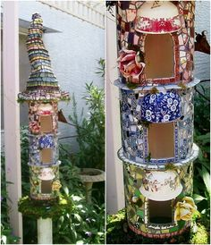 Broken China Fairy House 20 Brilliant Repurposing Ideas and Projects For Broken China And Other Glass Mosaic Crafts, Mosaic Projects, Mosaic Art, Mosaic Glass, Stained Glass, Tabletop, China Crafts, Mosaic Birds, Mosaic Madness