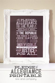The Pledge of Allegiance printable from Kiki and Company. Perfect for the fourth of July or any time of the year!