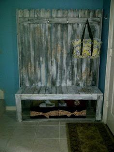 """Yellow Lotus, fence wood mini mud""""room"""" area.... boxes are spray painted diaper boxes."""