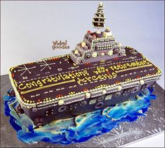 How to Make an Aircraft Carrier Cake  I wish I would of seen this when my dad was alive. He flew planes off & on them in WW11.