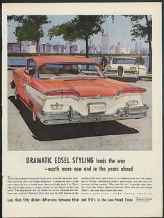 Edsels bucked the tail fin trend with a gull wing rear deck which anticipated the more dramatic rear of the 1959 Chevrolet. This is the Edsel Pacer four-door hardtop.