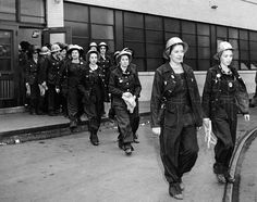 Women workers at the Todd Erie Basin shipyard repair plants in Brooklyn. They worked as mechanics, welders and electricians, filling skilled jobs vacated by men entering the military during World War II. Oct. 23, 1942. (CSU_ALPHA_1086) CSU Archives/Everett Collection