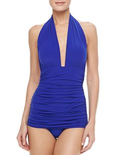 NORMA KAMALI Billowy One-piece Halter Swimsuit