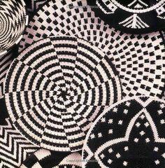 South Africa - Black White wire woven baskets Kwa Zulu Natal