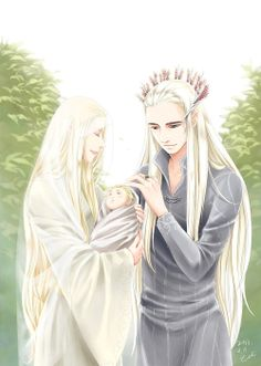 Thranduil and his wife with baby Legolas. Awwww... Legolas looks like a newborn here, he's so tiny! And Thranduil looks so loving. I wish we knew more about the Queen of Mirkwood - she's beautiful here!