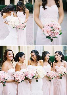 Elegant pink bridesmaid dresses.