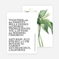 This Botanical Bliss wedding suite combines classic prints with minimalist typography to create unique wedding invitations. Wedding Typography, Modern Typography, Paper Culture, Black Wedding Invitations, Eco Friendly Paper, Matching Cards, Wedding Suits, Botanical Gardens, Unique Weddings