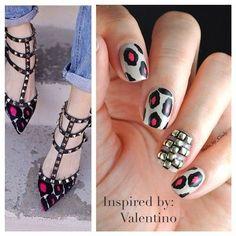 Nailart inspired by Valentino's Rockstud shoes!  #bellashoot #nailart