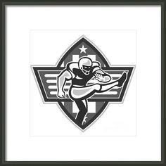 American Football Player Kicking Grayscale Framed Print By Aloysius Patrimonio