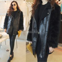 Women Winter Fur Sleeve Leather Patchwork Zipper Coat Biker Jacket