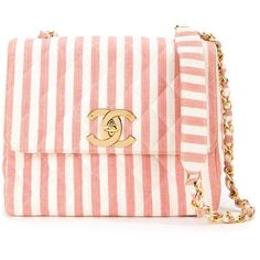 Chanel Vintage Striped Shoulder Bag (€4.555) ❤ liked on Polyvore featuring bags, handbags, shoulder bags, shoulder strap handbags, pink shoulder bag, quilted purses, pink purse and chanel purse