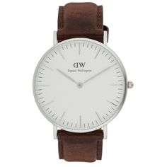 Daniel Wellington CLASSIC ST MAWES Watch silber/braun ($225) ❤ liked on Polyvore featuring jewelry, watches, accessories, silver, daniel wellington watches, daniel wellington, buckle jewelry, buckle watches and armband jewelry
