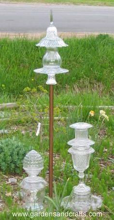 Glass Garden Totem ideas. Such a great way to use old glass plates, bowls, etc. Can also make plant stands, etc. Don't use painted glass, just glass that is colored all the way through.