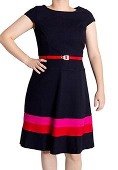 b4bcd097bd Anne Klein Women s Striped Hem Belted Pique Swing Dress (8