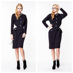 Show some vintage style at the office in this black and white secretary dress. Belt not included. Circa: Unknown Bust: 32 Waist: 28 Hips: 33 Shoulders: 14 Total Length: 37.5 Estimated Size: Medium Vintage item sold as is. No obvious defected noted on clothing