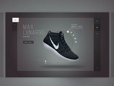 A look at one of the mocks made for Nike product feature. Once a user selects a product to customize it would then appear in this modal.  Full pixels attached.
