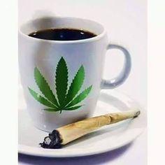 Cuppa Joe and a joint.Wake and Bake COFFEE AND CANNABIS are best when shared with you.i got my cup a joe my toke and smoke and I'm on my way down town . Cannabis, Medical Marijuana, Cuppa Joe, Wake And Bake, Mary J, Smoking Weed, Ganja, Coffee Cups, Fantasy