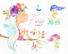 Fairies Watercolor magic clipart little girls dark skins Fairy Clipart, 2 Clipart, Kit Scrapbook, Scrapbooking, Conception Web, Royal Girls, Rainbow Fairies, Sand Crafts, Cute Illustration