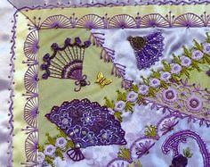 Closeup: Absolutely stunning, Russian handmade crazy quilted silk pillow . . .