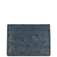 """Exotic Denim Blue Ostrich Credit Card Holder from the exclusive Coly collection features 4 credit card slots, and an interior cash slot! Dimensions are 4""""W x 3""""H. Handmade in Los Angeles."""