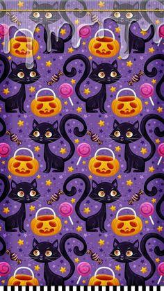 Wallpaper… By Artist Unknown… - Kids halloween Iphone Wallpaper Fall, Halloween Wallpaper Iphone, Holiday Wallpaper, Halloween Backgrounds, Screen Wallpaper, Phone Wallpapers, Wallpaper Quotes, Halloween Patterns, Halloween Witches
