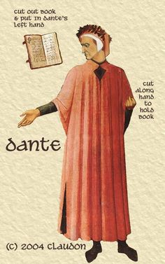 An Inferno Paper Doll Set Dante Alighieri (1265-1321) Dante begins his Medieval epic journey, The Divine Comedy, in a woods of doubt at age 35 on Good Friday, 1300. As he journeys through the first section, The Inferno, he has the pagan philosopher poet, Virgil, as his guide.