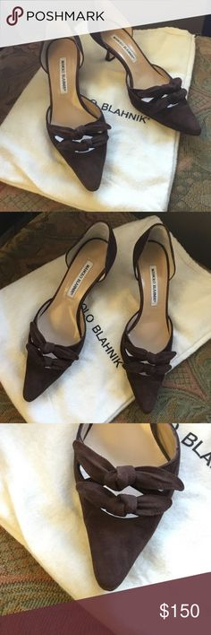 "MANOLO BLAHNIK brown suede bow heels size 37.5 Stunning MANOLO BLAHNIK suede brown heels ,heels are 2"" in excellent preowned condition ,thank you Manolo Blahnik Shoes Heels"