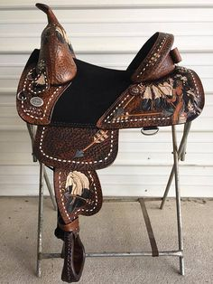 Thank you Sportssaddle for letting us do these leather art saddles. Barrel Racing Saddles, Barrel Saddle, Barrel Racing Horses, Barrel Horse, Saddle Rack, Roping Saddles, Equestrian Boots, Equestrian Outfits, Equestrian Style