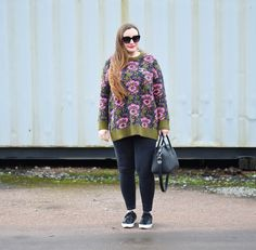 Zara Floral Jumper Outfit with Chanel brooch and Givenchy Antigona
