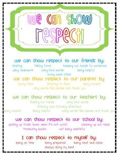 Showing respect, free printable - or you could make this into an anchor chart with the kids