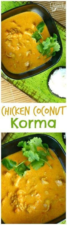 Chicken Coconut Korma is one of our favorite Indian dishes. It is SO easy to make at home! You will love the bright, savory flavor with a hint of coconut. via @favfamilyrecipz