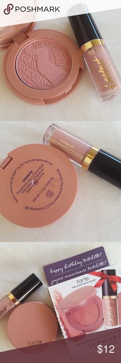 tarte bundle! -1 Amazonian clay 12-hour blush in, paaarty 0.05oz -1 Tartiest creamy matte lip paint in, birthday suit 0.034oz  Both items are brand new, never used, in original packaging! tarte Makeup