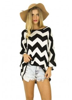 Boho Chevron Black Jumper is the perfect mix of chic and comfy! Featuring a black and white zigzag pattern and soft, knitted texture it's perfect for sweater weather! Pair a big floppy hat and denim cutoffs.
