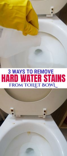 Get rid of the rings and yellow or brown marks in your toilet bowl. They are caused by hard water coming from your toilet tank. Here is how to remove them. Deep Cleaning Tips, House Cleaning Tips, Cleaning Hacks, Cleaning Solutions, Cleaning Recipes, Cleaning Products, Toilet Cleaning, Bathroom Cleaning, Bathroom Organization