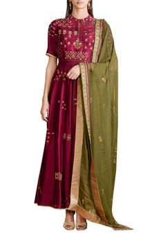Shop Sahil Kochhar - Wine chanderi embellished anarkali set Latest Collection Available at Aza Fashions Pakistani Outfits, Indian Outfits, Emo Outfits, Chanderi Suits, Anarkali Suits, Anarkali Frock, Punjabi Suits, Ethenic Wear, Kurti Styles