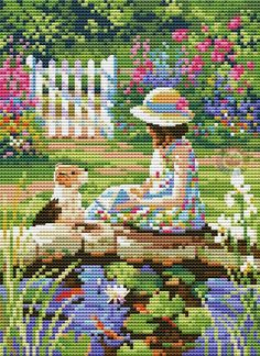 The Reading Lesson Mini Cross Stitch, Cross Stitch Charts, Cross Stitch Designs, Cross Stitch Patterns, Cross Stitching, Cross Stitch Embroidery, Embroidery Patterns, Hand Embroidery, Cross Stitch Landscape