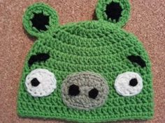 Angry Birds' Minion Green Pig Character Hat Crochet Pattern free video game character hat crochet pattern from cRAfterChick.com