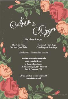 Convite de casamento Floral, Arte para editar, baixe no site sua arte, Brasão, monograma, fontes, frases para convites de casamento.