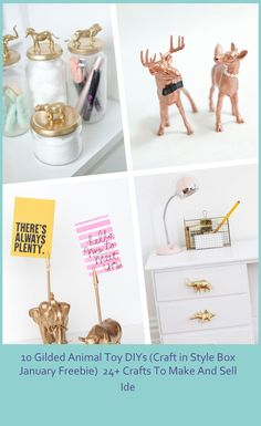 You are going to fall in love with these 10 Different DIYs that you can make by Gilding Animal Toys! Find dreamy crafts like cake toppers, and mason jars. #Freebie) #January #Gilded #Animal #(Craft crafts to make and sell ideas 10 Gilded Animal Toy DIYs (Craft in Style Box January Freebie) 24+ Crafts To Make And Sell Ide Crafts To Make And Sell, How To Make, Style Box, Pet Toys, Cake Toppers, Mason Jars, January, Place Card Holders, Diy Crafts