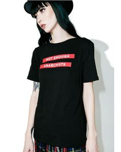 """Motel Girl Fit Tee yew just wanna live freely, babe. Gather tha troopz with this tee that features a classikk slim fit, round neckline, short sleevez, and white """"Not Enough Anarchists"""" text in red panels on the front."""