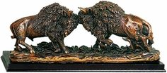 Two Fighting Buffalo Statue - Copper Finish