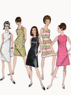 1960s Mod Basic Little Black Shift Dress Vogue 1956 Easy to Make Vintage 60s Sewing Pattern Size 14 Bust 36 by sandritocat on Etsy