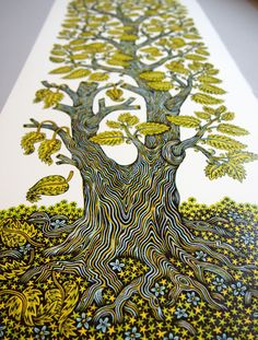 A Tall Leafy Tree Grows in Tugboat Printshop's New 4-Color Wood Block Print | Colossal