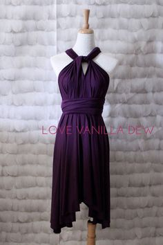 Bridesmaid Dress Infinity Dress Royal Purple Knee Length Wrap Convertible Dress Wedding Dress