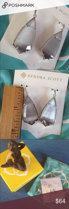 "Kendra Scott Carla Earrings New with tags, dust bag and gift box. Color is called Slate cat eye. Rhodium plated over brass. Size 1.85""x .72"" price firm. Kendra Scott Jewelry Earrings"