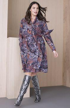 Plus Size Scarf Print Tie Neck Dress
