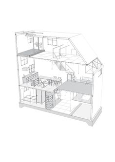 Widening interspace for use.<br> Many of the requests we receive for house design, come with a prerequisite: to provide living space for a nuclear family on an extremely subdivided lot. The usual manner of architecture, developed over the ages in Japa...