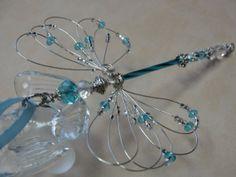 Blue Crystal Handmade Dragonfly Suncatcher by RockinWrapper, $15.99