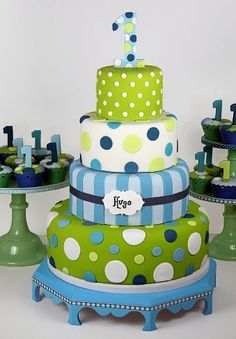 Tiered party cake in blues and greens.
